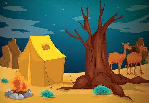 Illustration of a tent with a camp fire