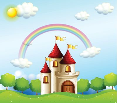 Illustration of a castle below the rainbow