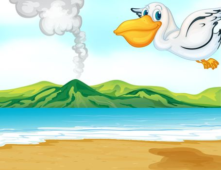 Illustration of a volcano beach and a flying bird