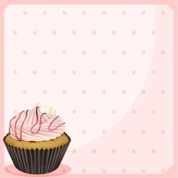 Illustration of a polka dot stationery with a cupcake