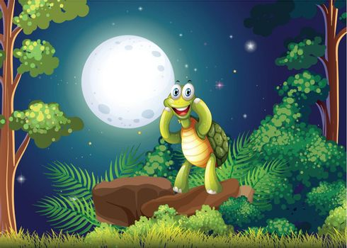Illustration of a smiling turtle at the forest in the middle of the night