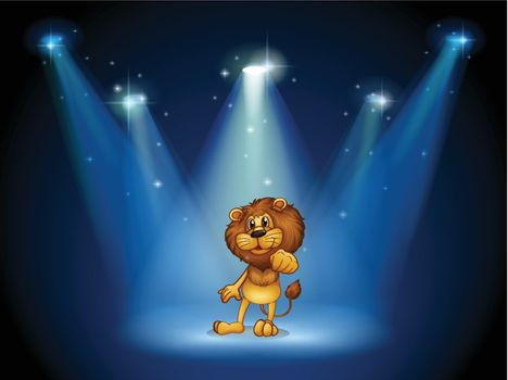Illustration of a stage with a brown lion at the center