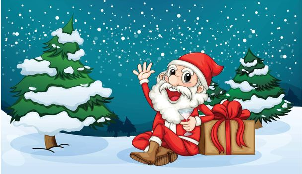 Illustration of a Happy Santa sitting in front of the pine tree