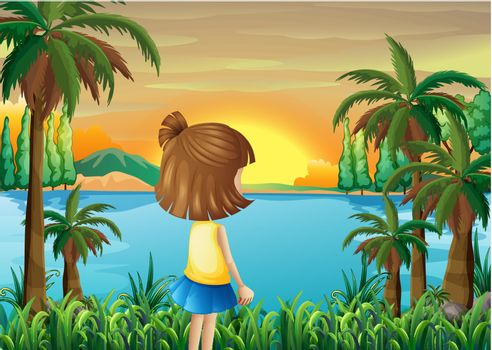 Illustration of a young girl watching the river