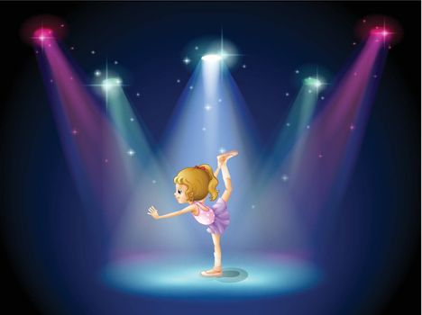 Illustration of a girl performing ballet on the stage with spotlights