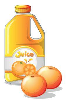 Illustration of a gallon of orange juice on a white background