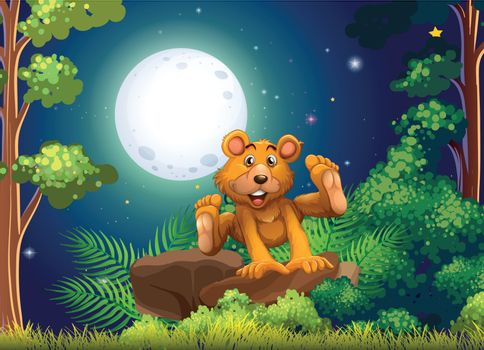 Illustration of a forest with an energetic bear