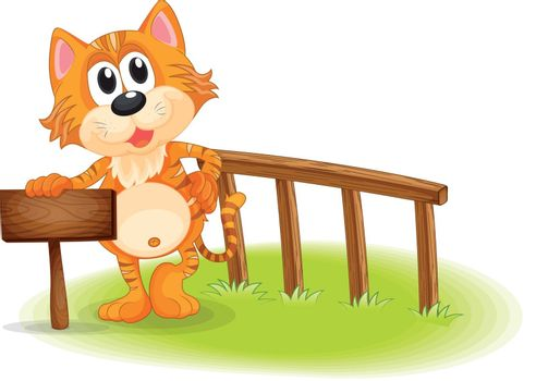 Illustration of a young tiger near the empty wooden signboard on a white background