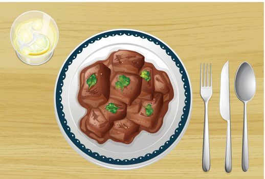 Illustration of a pork dish on a wooden table