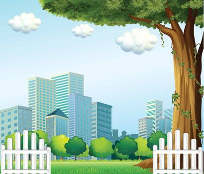 Illustration of a giant tree near the wooden fence across the tall buildings