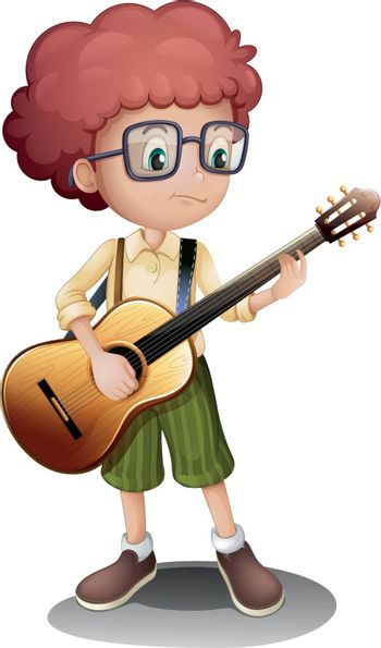 Illustration of a young guitarist on a white background