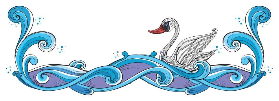 Illustration of a swan border design on a white back ground