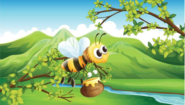 Illustration of a bee near the river