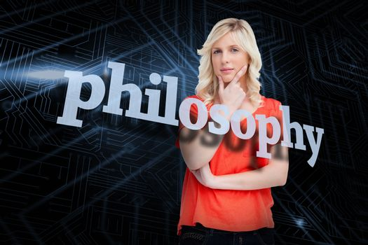 Philosophy against futuristic black and blue background