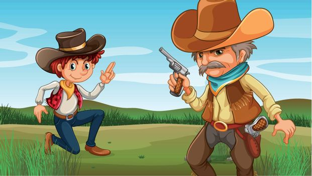 Illustration of a young and an old cowboy at the hill