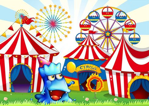 Illustration of a blue monster near the circus tents