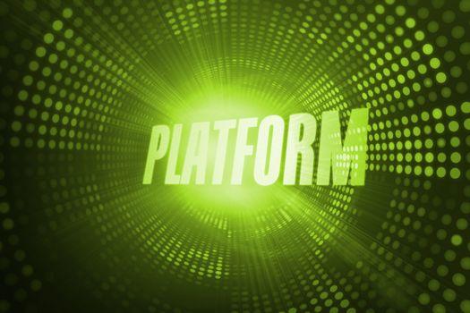 Platform against green pixel spiral