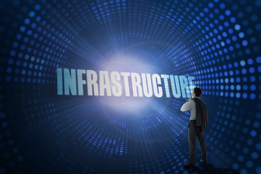 Infrastructure against futuristic dotted blue and black background