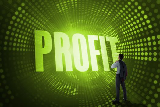 Profit against green pixel spiral