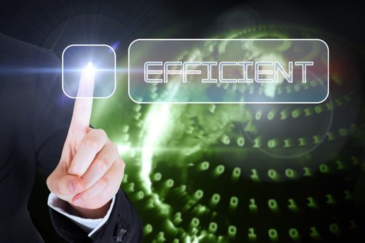Businesswomans finger touching Efficient button