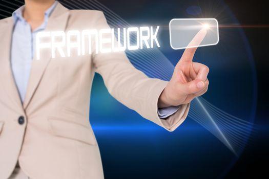 Businesswomans finger touching framework button