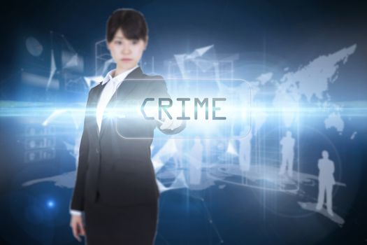 Crime against glowing technological background
