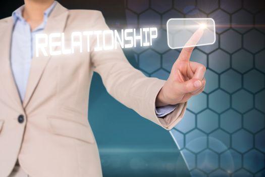 Businesswomans finger touching relationship button