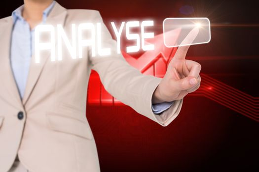 Businesswomans finger touching analyse button