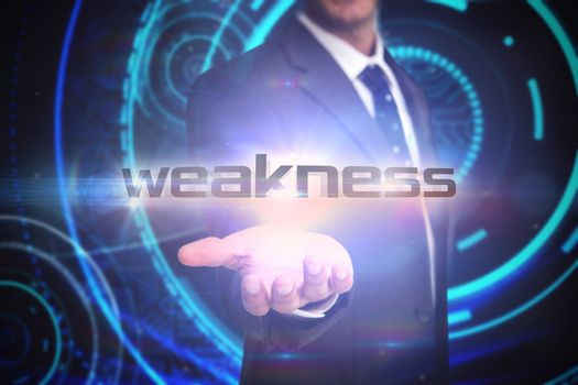 Weakness against futuristic technological background