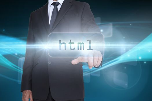 Html against abstract glowing black background