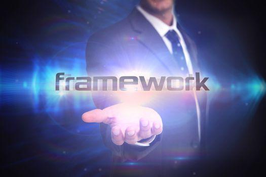 Framework against shiny arrow lines on black background