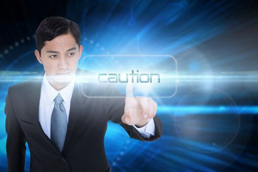 Caution against blue technology background