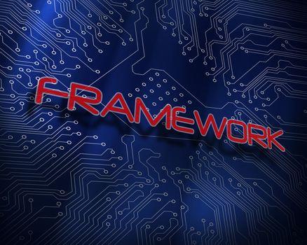 Framework against blue technology background