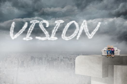 Vision against balcony overlooking city
