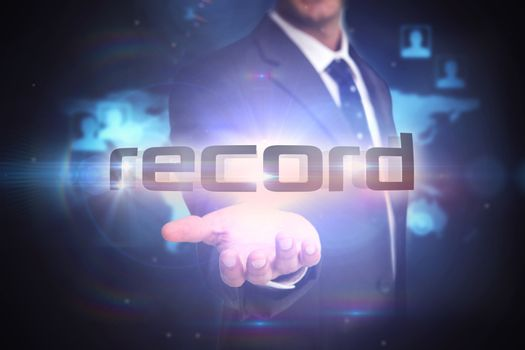 Record against futuristic technology interface