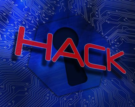 Hack against keyhole graphic on blue background