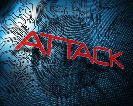 Attack against illustration of blue fingerprint
