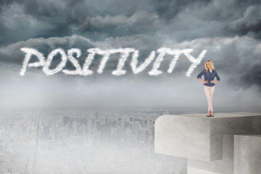 Positivity against balcony overlooking city