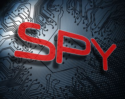 Spy against illustration of circuit board