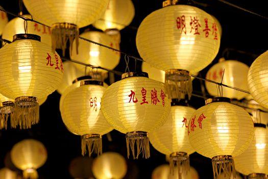 The yellow Chinese lanterns on Vegetarian Festival Kippur.