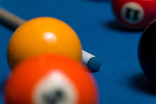 Pool Table With Balls And Cue Stick