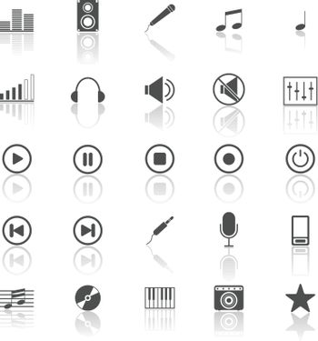 Music icons with reflect on white background, stock vector
