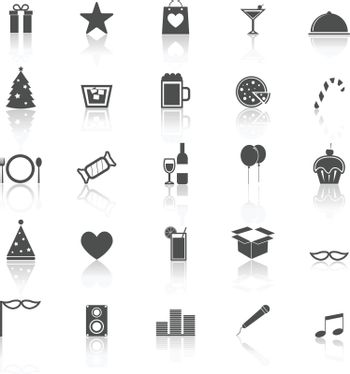 Party icons with reflect on white background, stock vector