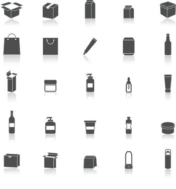 Packaging icons with reflect on white background, stock vector