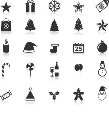 Christmas icons with reflect on white background, stock vector