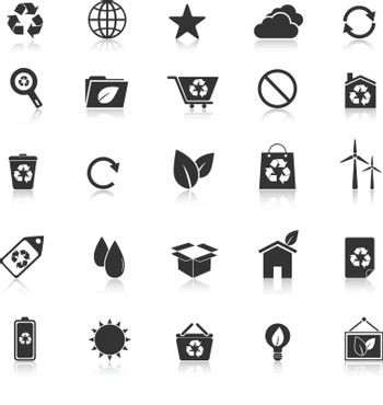 Ecology icons with reflect on white background, stock vector