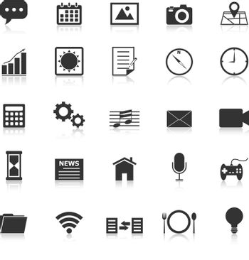 Application icons with reflect on white background, stock vector