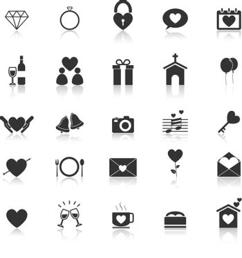 Wedding icons with reflect on white background, stock vector