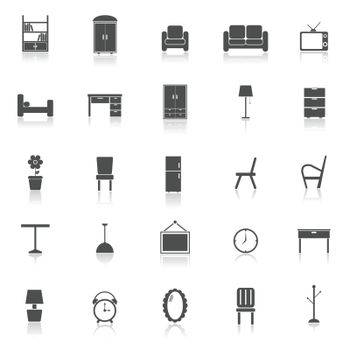 Furniture icons with reflect on white background