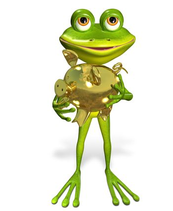 illustration merry green frog with piggy bank